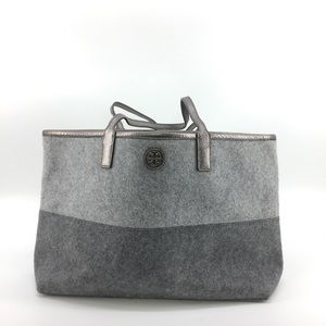 Tory Burch Shoulder Bag Tote Grey Felt Leather
